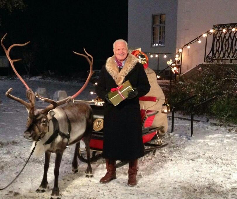 Renen Rudolf från Renranchen, och Frank Andersson på reklamfilmsinspelning.