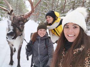 Chloe och Amandine, ute på tur med Ullis och Rudolf, från Renranchen.